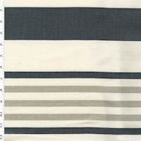 *6 YD PC--Ivory/Gray/Blue Striped Print Woven Home Decorating Fabric