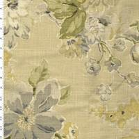 *7 1/4 YD PC--Beige/White/Multi Floral Printed Woven Home Decorating Fabric