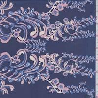 *1 1/2 YD PC--Dark Ink Floral Scroll Silk Chiffon