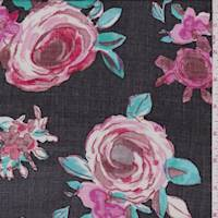 *2 3/8 YD PC--Black/Brick Modern Rose Rayon Challis