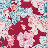 Red Floral Sketch Activewear/Swimwear