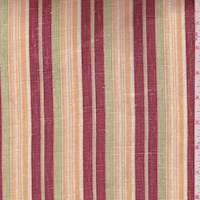 *3 1/4 YD PC--Cream/Ruby/Peach Stripe Linen Blend