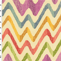 *3 1/2 YD PC--Multicolored Wave Zig Zag Print Twill Decorating Fabric