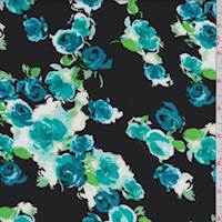 *3 YD PC--Black/Teal Rose Cluster Rayon Challis