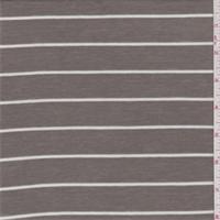 *1 1/4 YD PC--Dark Taupe/White Stripe Rib Jersey Knit