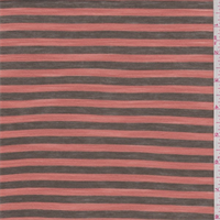 *1 1/4 YD PC--Clay Orange/Olive Brown Stripe Rayon Jersey Knit