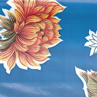 *12 YD PC--Royal Blue Floral Oilcloth