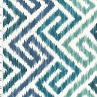 *1 YD PC--Ocean Blue/Green Greek Key Ikat Print Canvas Decor Fabric