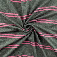 *2 1/4 YD PC--Grey/Bubblegum Pink Rayon Stripe Jersey Knit