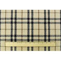 *2 3/8 YD PC--Beige/Black/Brown Wool Blend Texture Plaid Jacketing