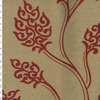 *5/8 YD PC--Tan/Red Floral Embroidered Canvas Weave Home Decorating Fabric