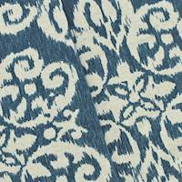 *1 7/8 YD PC--Navy Blue/Beige/Ivory Ikat Baroque Print Canvas Decor Fabric