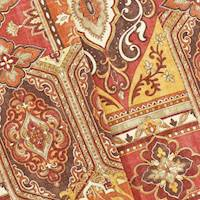 *2 YD PC--Red/Multi Convington Moroccan Print Linen Decorating Fabric