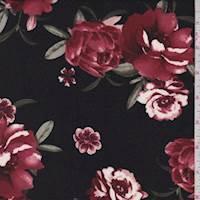 Black/Brick Floral Double Brushed Jersey Knit