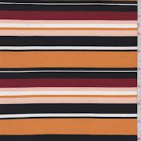 Pumpkin/Black/Burgundy Stripe Double Brushed Jersey Knit