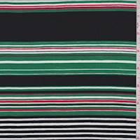 Black Multi Color Stripe Double Brushed Jersey Knit