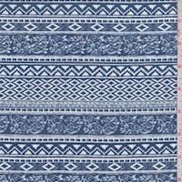 Pale Ink Deco Stripe Rayon Challis