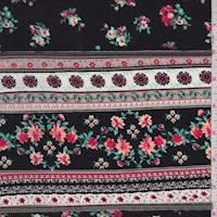 Black/Berry Wallpaper Stripe Rayon Challis