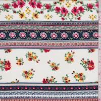 White/Navy Wallpaper Stripe Rayon Challis