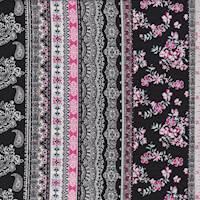 Black/Pink Deco Stripe Rayon Challis