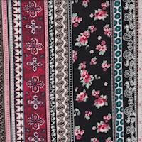 Black/Crimson Deco Stripe Rayon Challis