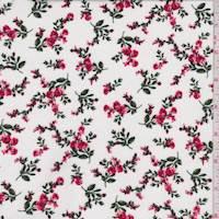 White/Red Mini Floral Rayon Challis