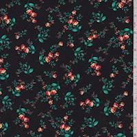 Black/Orange Mini Floral Rayon Challis