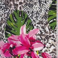 White/Taupe Snakeskin Floral Rayon Challis