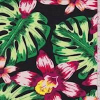 Black Multi Tropical Floral Rayon Challis