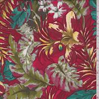 Brick/Gold Tropical Floral Sketch Rayon Challis