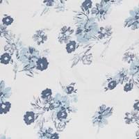 Soft White/Blue Floral Rayon Challis