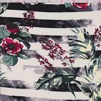 Ivory/Black Multi Stripe Floral Rayon Challis