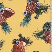 Yellow Tropical Fruit Rayon Challis
