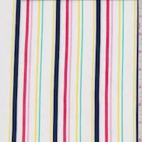 White/Navy Multi Pinstripe Rayon Challis