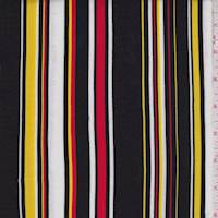 Black/White/Yellow Stripe Rayon Challis