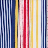 Sapphire/White Multi Stripe Rayon Challis