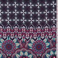 Plum/Red/Turquoise Medallion Rayon Challis