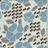 *1 1/8 YD PC--Faint Blue Poppy Cotton Lawn