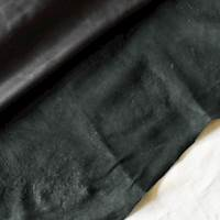 Coal Black Textured Leather Hide