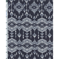*1 1/8 YD PC--Navy Etched Ethnic Print Knit