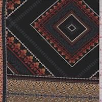 *2 3/8 YD PC--Black/Gold Diamond Patchwork  ITY Jersey Knit