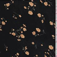 *3 5/8 YD PC--Black/Tan Floral Rayon Georgette
