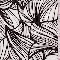 *2 3/4 YD PC--White/Walnut Floral Petal Jersey Knit