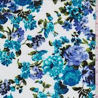 *3 3/4 YD PC--White/Aqua Floral Lattice Poplin