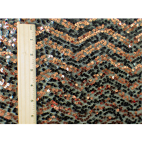 *1 YD PC--Copper/Black Chevron Stripe Sequin Mesh