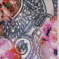 *3 7/8 YD PC--Grey/Pink/Orange Floral ITY Jersey Knit