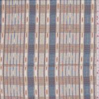 *6 YD PC--Stone/Bronze Modified Plaid Silk Chiffon