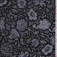 *2 1/4 YD PC--Black/White Floral Burnout Panne Velvet