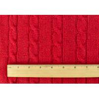 *1 YD PC--Red Wool Blend Cable Sweater Knit