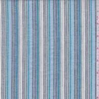 Sky/Teal/Slate Stripe Cotton Oxford